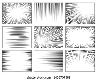 Comic book speed lines set, explosion effect. Abstract radial zoom speed light, motion background. Vector illustration on white background