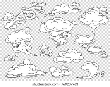 Comic book steam clouds set. Cartoon white smoke vector Illustration. Fog flat isolated clipart for design, effects and advertising posters.