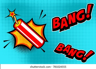 Comic book style background with dynamite stick explosion. Design element for banner, poster, flyer. Vector image