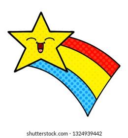 comic book style cartoon of a shooting rainbow star
