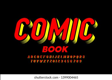 Comic book style font, alphabet letters and numbers, vector illustration