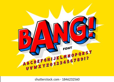 Comic book style font design, alphabet letters and numbers vector illustration