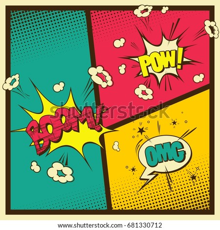 Comic Book Style Vintage Color Background Stock Vector (Royalty Free ...