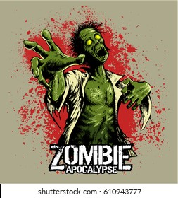 Comic book style zombie with red stains on background
