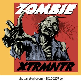 Comic book style zombie, shoot in the head, vector image.