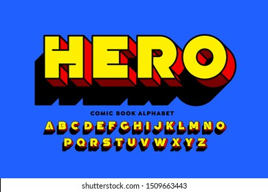 Comic book SuperHero style font design, alphabet letters vector illustration