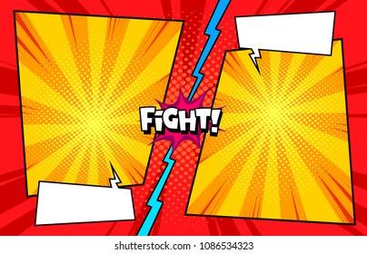 Comic book versus template background, classic pop-art style, superhero battle intro, halftone print texture