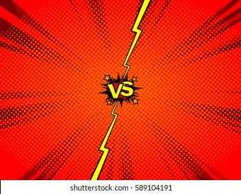 Comic book versus template background, classic pop-art style, battle intro, halftone print texture