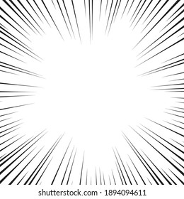 Comic book white and black radial lines background. Superhero action, explosion background, manga speed frame, vector illustration