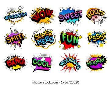 Comic book word set: Whooosh, Wow, Sweet, Boom, Shit, Super Hero, Fun, Pssst, Bang, Cool, Woooooo, Hooray. Comics speech bubble template collection. Cartoon style comic dialog cloud. Pop art explosion
