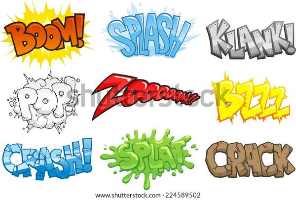 Comic Books Cartoon Sound Effects Onomatopoeia Stock Vector Royalty Free 224589502