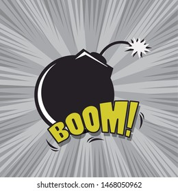 Comic BOOM explosion bubbles with round bomb cartoon on colorful background ,vector illustration.