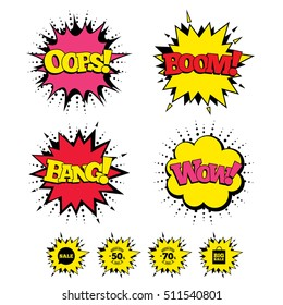 Comic Boom, Wow, Oops sound effects. Sale speech bubble icon. 50% and 70% percent discount symbols. Big sale shopping bag sign. Speech bubbles in pop art. Vector