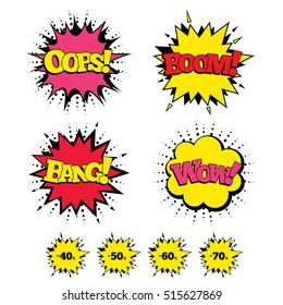 Comic Boom, Wow, Oops sound effects. Sale discount icons. Special offer price signs. 40, 50, 60 and 70 percent off reduction symbols. Speech bubbles in pop art. Vector