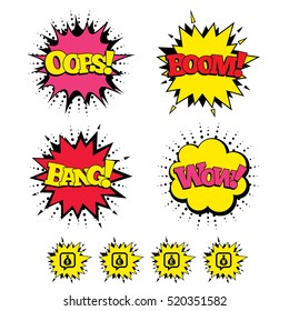 Comic Boom, Wow, Oops sound effects. Money bag icons. Dollar, Euro, Pound and Yen speech bubbles symbols. USD, EUR, GBP and JPY currency signs. Speech bubbles in pop art. Vector