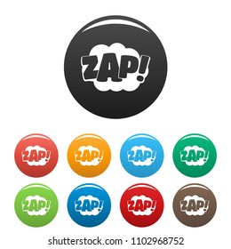 Comic boom zap icon. Simple illustration of comic boom zap vector icons set color isolated on white