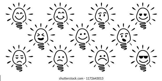 Comic brain electric lamp idea doodle FAQ, business loading concept Fun vector creative light bulb icon or sign ideas Brilliant lightbulb education  or inventions pictogram Think big Great success lol
