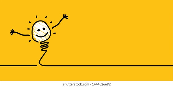 Comic brain electric lamp idea doodle FAQ, business loading concept Fun vector creative light bulb icon or sign ideas Brilliant lightbulb education  or inventions pictogram Think big Great success lol