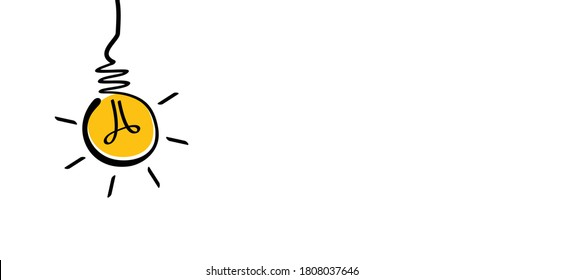 Comic brain electric lamp idea doodle. FAQ, business loading concept. Fun vector light bulb icon or sign ideas. Brilliant lightbulb education or invention pictogram banner
