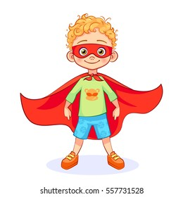 Comic brave boy in Superhero costume stands firm legs wide apart, with a mask on his face and developing in the wind red cloak. Vector cartoon Super boy character in a green T-shirt with a monkey.