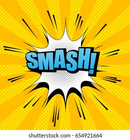 Comic bright background with blue Smash word, white cloud, halftone and sound effects on orange radial background. Vector illustration