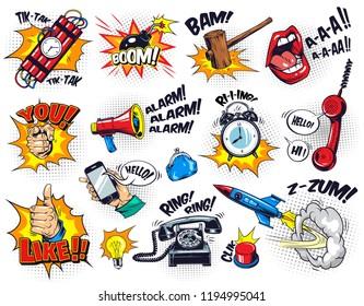 Comic bright elements composition with speech bubbles wordings