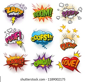 Comic bright speech bubbles set with colorful wordings clouds and halftone humor effects isolated vector illustration