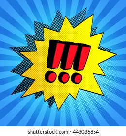 Comic bubble. Exclamation points. Halftone shadows. Vector illustration.