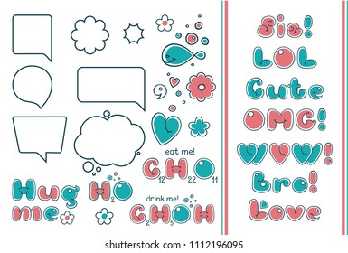 Comic bubble set. Popular phrases and quotes in cartoon style. Text forms, sis, bro, cute, omg, wow, love, hug me. Chemical formulas of water, ethanol, sucrose