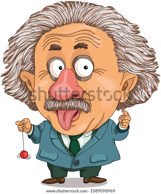 The comic caricature. Cartoon. A funny portrait of the physicist Albert Einstein.  Isolated objects.