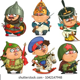 The comic caricature. Cartoon. Vector.  A set of Russian soldiers of different epochs. Travesty cartoon. Characters.  Isolated objects.