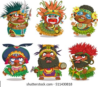 The comic caricature. Funny African Papuan. Cartoon. Vector. Travesty cartoon. Characters.  Isolated objects.