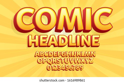 Comic Cartoon Lettering Text for Poster Headline, Promotional Text and Logo text.