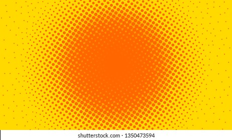 Comic cartoon retro yellow and orange pop art background with dots, vector illustration eps10