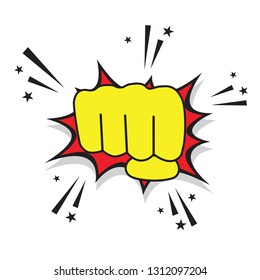 Comic cartoon style fist punch out. Vector graphic design.