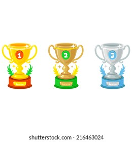 Comic Cartoon Vector Gold, Silver and Bronze Trophy Goblet icons isolated on white background