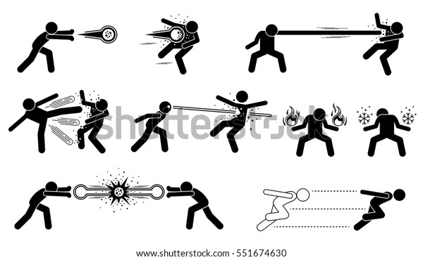 Comic Characters Special Powerful Attack These Stock Vector