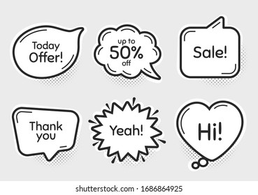 Comic chat bubbles. Sale, 50% discount and today offer. Thank you, hi and yeah phrases. Sale shopping text. Chat messages with phrases. Drawing texting thought speech bubbles. Vector