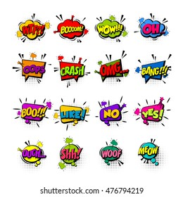 Comic collection colored sound chat text effects pop art vector style. Set bubble speech word, cartoon letter expression sounds illustration. Lettering funny phrase. Comics book background template