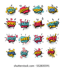 Comic collection colored sound effects pop art vector style. Set comic bubble speech word comic cartoon expression illustration. Lettering phrase. Comics book background template