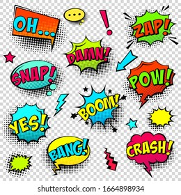 Comic colored speech bubbles with halftone shadow and text phrase. Sound expression of emotion. Hand drawn retro cartoon stickers. Pop art style. Vector illustration