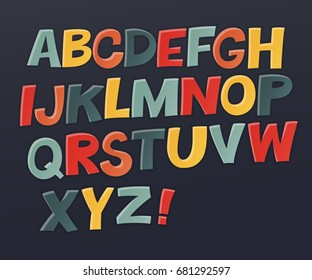 Comic colorful alphabet. Vector set. Comic text. Comics book style. Vector set of funny english multicolor letters. Cute colorful vector English alphabet, funny typeface,  ABC, uppercase letters