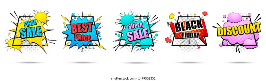 Comic colorful banners collection with Best Price Black Friday Discount Super and Final Sale inscriptions bright speech bubbles frames clouds rays stars halftone effects. Isolated vector illustration