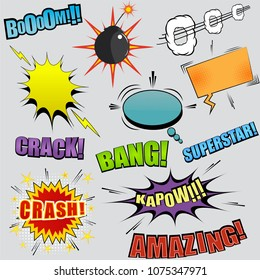 Comic colorful elements set with bomb, Boom, Superstar, Bang, Kapow, Amazing, Crack, Crash inscriptions, speech bubbles lightnings sound stars halftone. Vector illustration