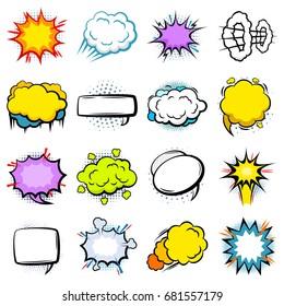Comic Colorful Explosion Speech Bubbles Set