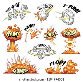 Comic colorful explosive elements collection with bursts explosions and boom effects isolated vector illustration