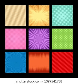 Comic colorful light frames set with halftone dotted rays slanted lines light effects on black background. Vector illustration