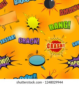 Comic colorful seamless pattern with speech bubbles stars bright Amazing Crash Kapow Boom Bang Superstar wordings lightnings bomb stars and halftone humor effects. Vector illustration