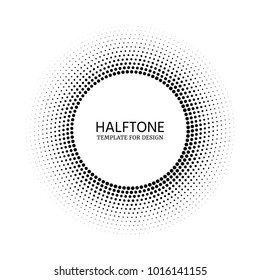 Comic dark distribution circles background for text. Stipple vector texture round gradient with dots. Halftone circle template for design.