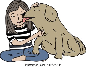 Comic doodle colored hand draw vector is in concept of dog adoption or greeting with love. A cute golden retriever dog or Labrador breed licks owner's face and show its paw to say hi with the kids.